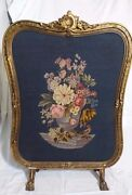 Antique Victorian Needlepoint Fire Screen W/ Gilded Claw Feet 38 X 26