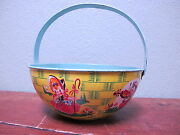 J Chein And Co Basket Sand Pail 1940's 1950's Antique Childs Beach Toy Bucket Rare