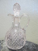 Vintage Hand Blown Eapg Crystal Glass Cruet And Matching Stopper American Brillant