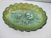 Imperial Green Carnival Pansies Quilted Diamond 8andfrac14 X 5jandfrac12 Oval Relish Bowl