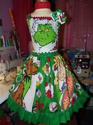 Vintage Fabric Girls Dress And Bow Size 7/8