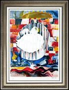 Alexandra Nechita Earth Peace Color Lithograph Signed Modern Large Cubism Art