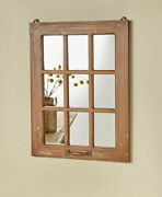 Natural Antiqued Wood Rustic Country Farmhouse Windowpane Wall Mirror Home Decor