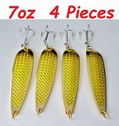 4 Pieces Casting 7oz Spoons Fishing Lures Gold Colors - Crocodile Spoon Style