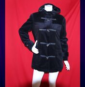 [new] Deep Blue Corduroy With Bear Claw Women Hooded Duffle Coat