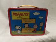 Vintage Peanuts Metal Lunch Box By Schulz Featuring--snoopy And Charlie Brown 19