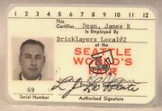 Scarce White Union Business Id Card From 1962 Worlds Fair Century 21 Seattle