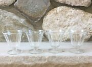 Vintage Ice Cream Custard Fruit Clear Footed Glasses Cups, Set Of 4