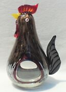 Large 11 Vintage Murano Italy Studio Art Glass Rooster Figurine Sculpture 4807