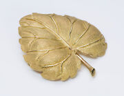 Vintage And Co. 18k Yellow Gold Leaf Brooch