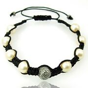 Natural Pearl Diamond Charm Beads Bracelet 92.5 Silver Hand Made Costume