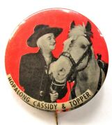 1950's Hopalong Cassidy And Topper Cowboy Rodeo Red Background Pinback Button