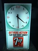 Vintage 7-up Get Real Action Working Lighted Clock You Can 7-up Your Thirst Away
