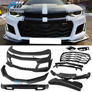 Fits 16-18 Chevy Camaro Zl1 Style Front Bumper W/ Grill Oe Style Rear Diffuser
