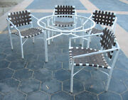 Vintage Brown Jordan Patio Dining Set Faux Rattan Orient Can Refinish See Pics