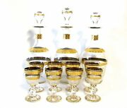 Decanters Set Of 3 Antique Bottle With Stoppers And 8 Liquor Glasses 868