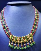 22k Yellow Gold Chain/necklace Set With Matching Earrings With Rubies/emerald