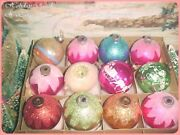 Beautiful Vtg X-large Antique Shiny Brite And Usa Pink Mica Indent Xmas Ornaments