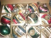 Beautiful Vtg Premier And Shiny Brite Double Indent Lanterns Glass Xmas Ornaments