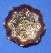 Antique Harry Northwood Andldquogolden Irisandrdquocarnival Glass Bowl Grapes-cable With Logo