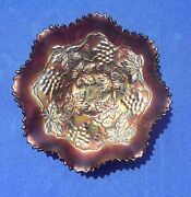 """Antique Harry Northwood """"golden Iris""""carnival Glass Bowl Grapes-cable With Logo"""