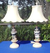 Antique Victorian Lady And Gentleman Bisque Figurine Table Lamps