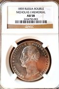 Russia One Rouble 1859 Nicholas I Ngc Au-58 Rare Coin, Monument Rare One Time