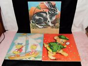 3 Vintage Saalfield Kids Picture Puzzles - Rabbit, Ducklings And Daisy Mager Bear