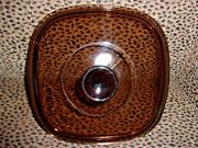 Pyrex A-9-c Square Amber Glass Lid. 8 1/2 For Corning Casserole No Chips