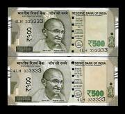 Rs 500/- India Banknote Super Solid Twin Pair 4lh 333333 Gem Unc