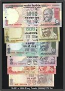 India Banknote Low Serial 000006 Gem Unc Rs 10 To 1000 Previous Issue Gem Unc
