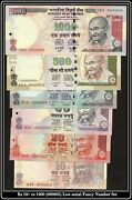 India Banknote Low Serial 000005 Gem Unc Rs 10 To 1000 Previous Issue Gem Unc
