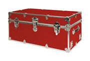Secureoncampus Dorm Trunks Red Includes Set Of 2 Wheels And Engraved Nameplate