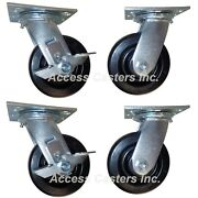 6plnset 6 Caster Set Of 4 For Lincoln Impinger 3255 And 3270, 4,000 Lbs Capacity