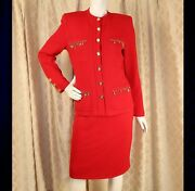 St. John Collection Red With Gold Ornaments Buttons Woman Knitted Skirt Suit