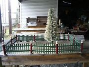 Vintage Xmas Tree Train Display Metal Fence Two Gates Red And Green