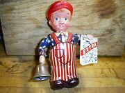 Vintage Occupied Japan Tin And Celluloid News Boy Wind Up Toy Works Original