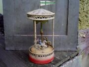 Early 1900s Gunthermann Clockwork Windup Painted Tin Toy Carousel Germany