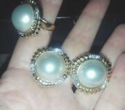 3800 Usd Vintage Cluster Gold Diamond Mabe Pearl Earrings Necklace Set Rare