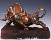 43 Cm China Zodiac Wealth Fengshui Animal Bronze Wood Ox Oxen Bull Cattle Statue