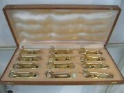 Gorgeous Gold Plated 12 Knife Rests Animal Figurines Sandoz Style