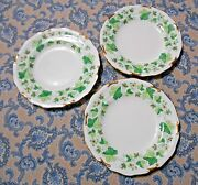 Royal Crown Derby Green Maple Leaf Bread Or Appetizer Plates 6 1/4 Lot Of 3