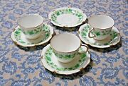 Royal Crown Derby Green Maple Leaf Cups And Saucers Lot Of 3 Cups And 4 Saucers