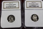 2003-s And 2000-s Ngc Graded Proof 69 Ultra Cameo Jefferson Nickels Both Ngc