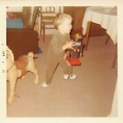 Little Boy W/ Marx Marvel Mustang Riding Horse Toy And Black Robot 1970s Photo S85