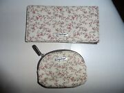 Longaberger Book Cover And Small Coin Purse In A Tan And Rust Floral