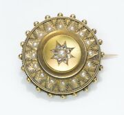 Antique Victorian Diamond Pearl Yellow Gold Etruscan Brooch Pin