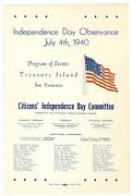 July 4 1940 Independence Day Program San Francisco Golden Gate Inter Expo Ggie