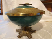 Teal Green Brass Enameled Trinket Dish -made In Israel - Free Shipping Via Usps