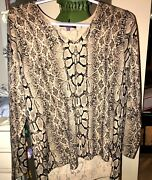 Marled From Bloomingdales Animal Print Pullover Tunic Hi-low Hemline Size Large